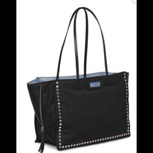 Prada Studded Tessuto Etiquette Leather Shopper